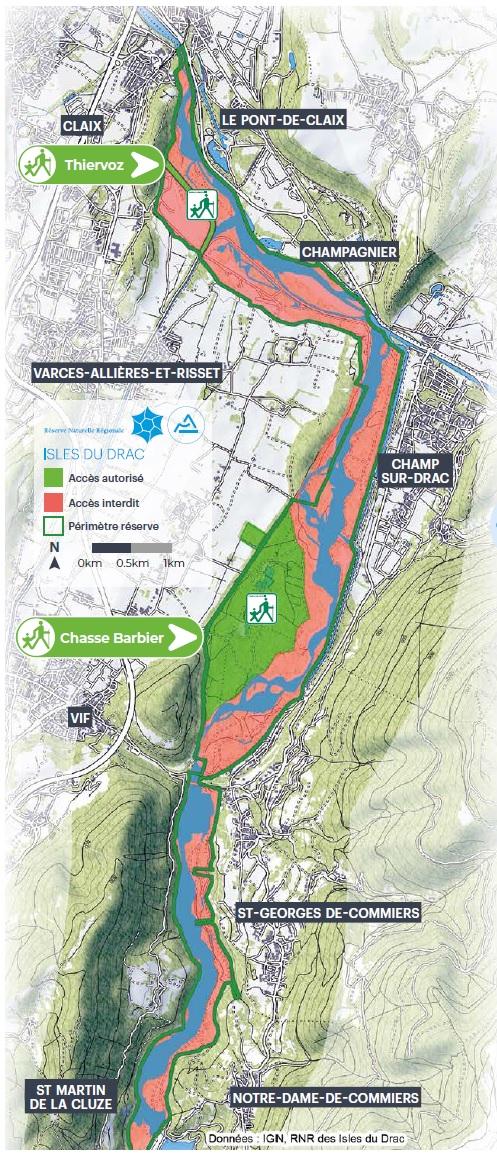 Carte d'accessibilité de la Réserve Naturelle des Isles du Drac